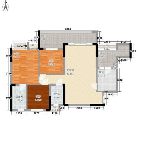 桥机嘉园3室0厅2卫1厨89.66㎡户型图