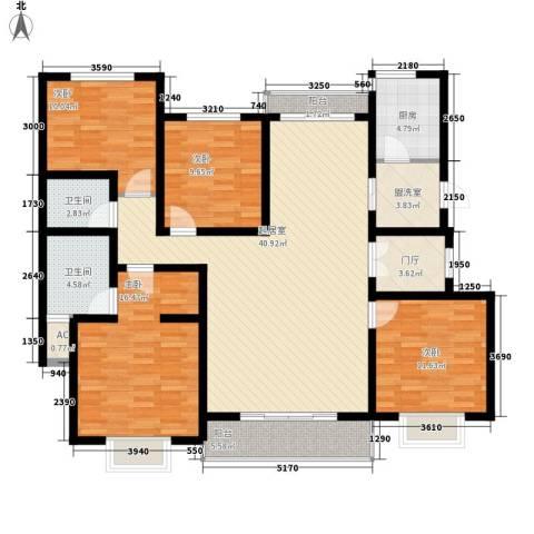 水木清华三期4室0厅2卫1厨169.00㎡户型图