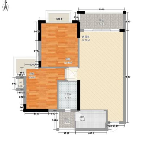 南康新村2室0厅1卫1厨70.00㎡户型图
