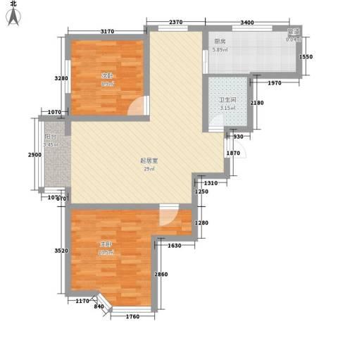 阳光上城一期-上景园2室0厅1卫1厨87.00㎡户型图