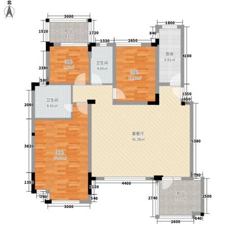 万科城市高尔夫花园别墅3室1厅2卫1厨156.00㎡户型图