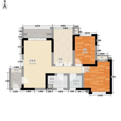 中铁・逸都国际2室0厅1卫1厨87.00㎡户型图