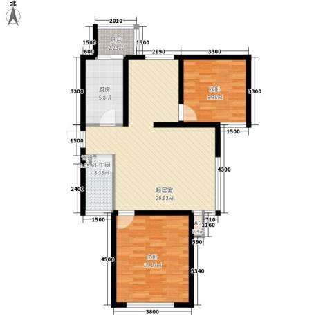 新城雅苑二期2室0厅1卫1厨92.00㎡户型图