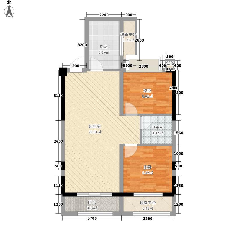 金色梧桐2期户型图6#楼B1户型 2室2厅1卫1厨