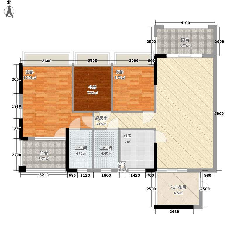 佳兆业香瑞园别墅户型图G栋三房两厅两卫