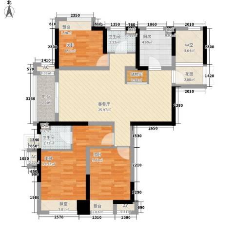 大华锦上城3室1厅2卫1厨119.00㎡户型图