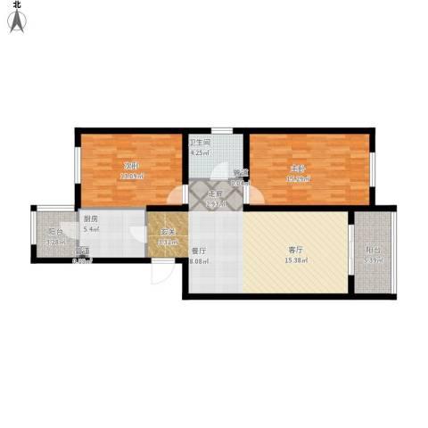 溪山嘉园2室1厅1卫1厨109.00㎡户型图