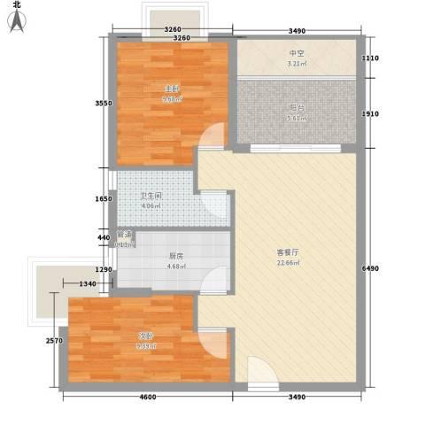 合兴福邸2室1厅1卫1厨73.00㎡户型图