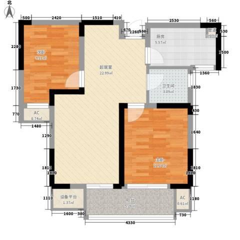 藏品�山湾2室0厅1卫1厨89.00㎡户型图