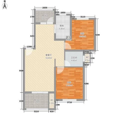 陆宇中央郡2室1厅1卫1厨91.81㎡户型图