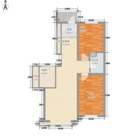 先行国际2室0厅1卫1厨88.00㎡户型图