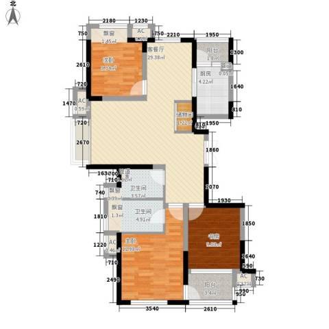 大华锦上城3室1厅2卫1厨121.00㎡户型图