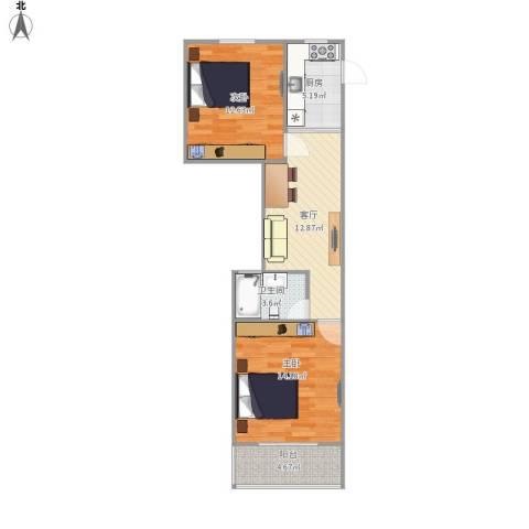 绿园一村2室1厅1卫1厨72.00㎡户型图