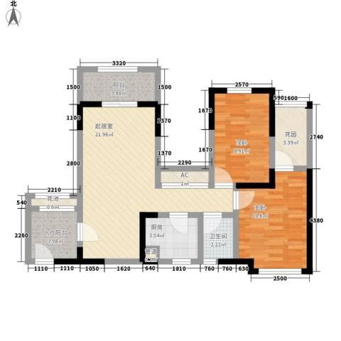 中铁・逸都国际2室0厅1卫1厨88.00㎡户型图