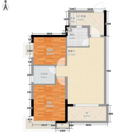 长安长盛新村2室1厅1卫1厨105.00㎡户型图