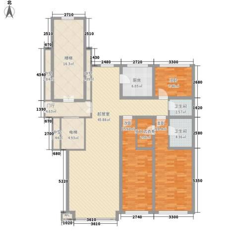 先行国际3室0厅2卫1厨134.42㎡户型图