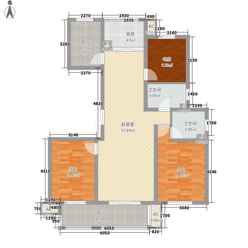 花园半岛138.00㎡二期27号楼J户型3室2厅2卫1厨