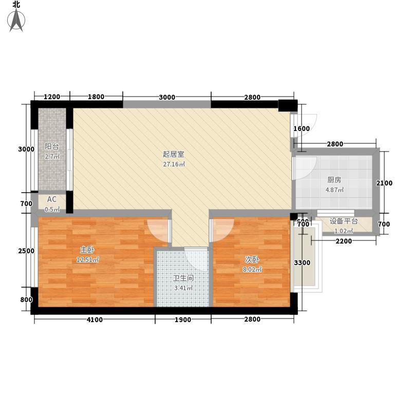 金色梧桐2期户型图6#楼B3户型  2室2厅1卫1厨
