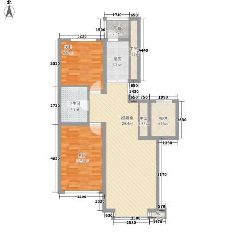 先行国际2室0厅1卫1厨93.00㎡户型图