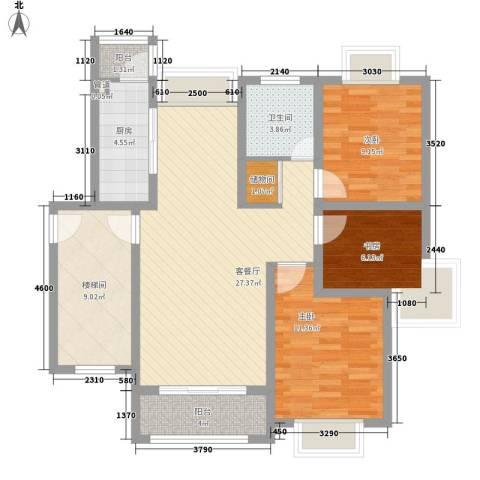 上海花园别墅3室1厅1卫1厨114.00㎡户型图