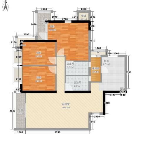 都市华庭3室0厅2卫0厨129.00㎡户型图