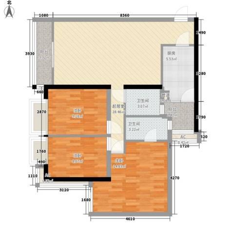 都市华庭3室0厅2卫1厨115.00㎡户型图