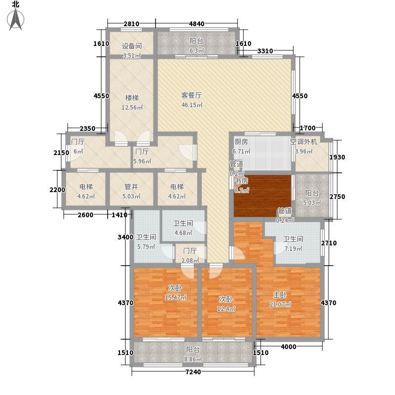 绿城西溪诚园185.00㎡E中间套户型4室2厅