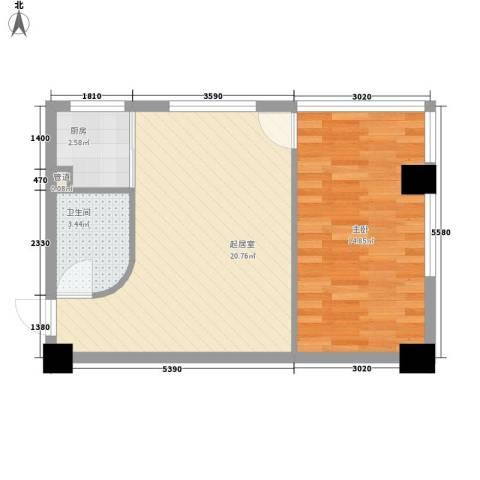 汉江阳光城1室0厅1卫1厨58.00㎡户型图