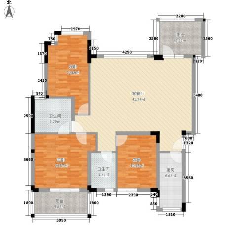 万科城市高尔夫花园别墅3室1厅2卫1厨153.00㎡户型图