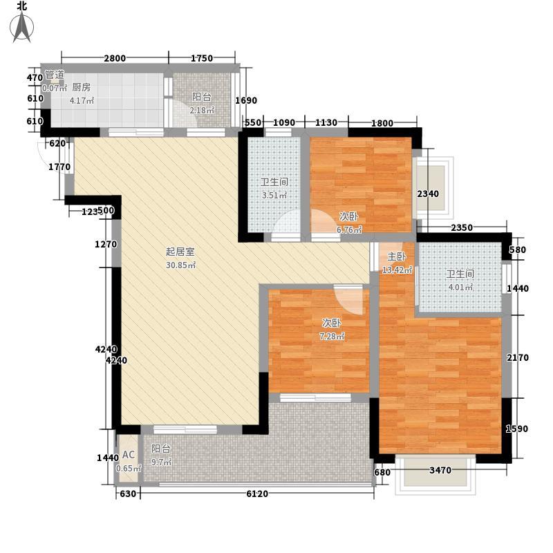金茂珑悦一期1号楼B-4户型3室2厅