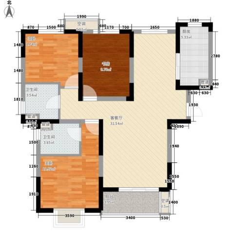 地安汉城国际3室1厅2卫1厨118.00㎡户型图