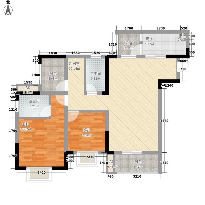 金茂珑悦一期1号楼B-3户型2室2厅