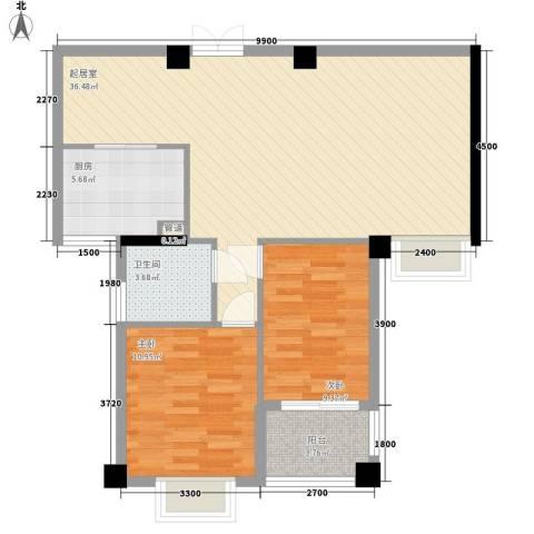 国信新城2室0厅1卫1厨98.00㎡户型图