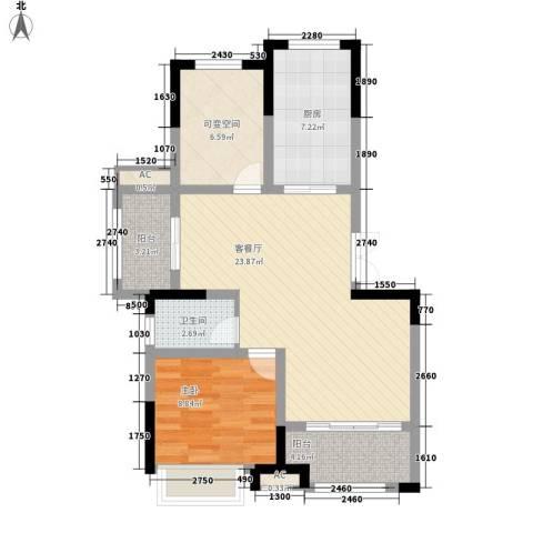 山南小镇1室1厅1卫1厨85.00㎡户型图