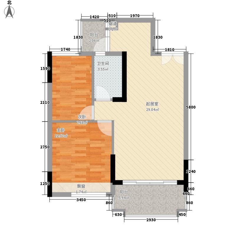 东圣维拉62.04㎡东圣维拉户型图7座2-11层04单元2室2厅1卫1厨户型2室2厅1卫1厨