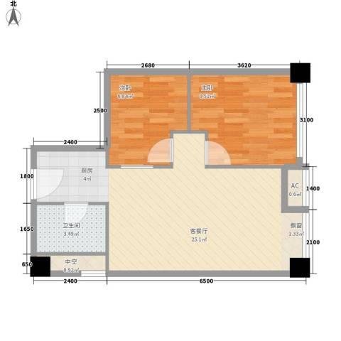 永富大厦2室1厅1卫0厨66.00㎡户型图