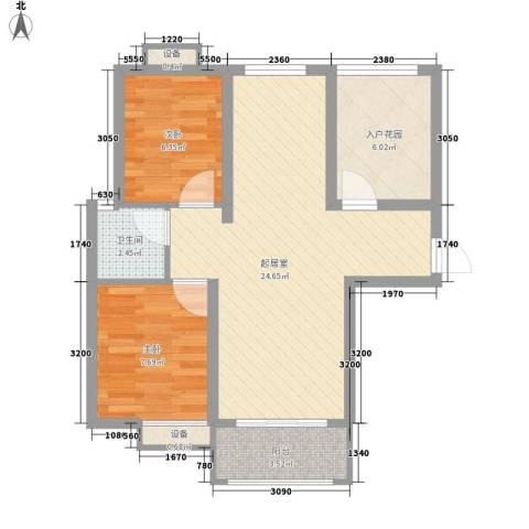 和顺新里程2室0厅1卫0厨75.00㎡户型图