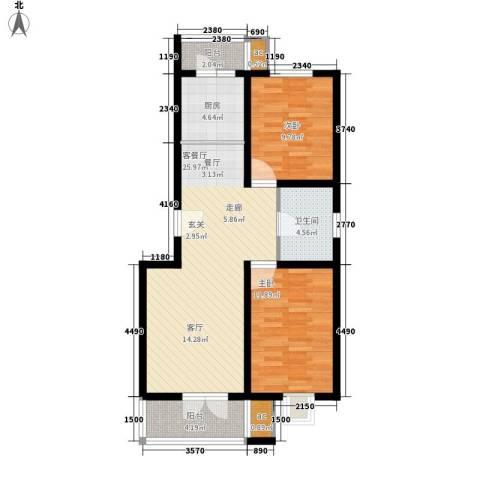 家和康平里2室1厅1卫1厨97.00㎡户型图