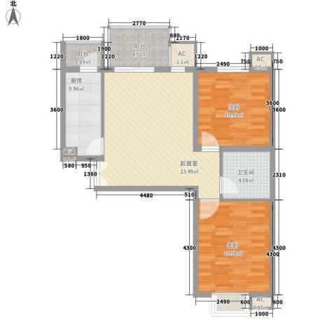 汇雅风尚2室0厅1卫1厨90.00㎡户型图