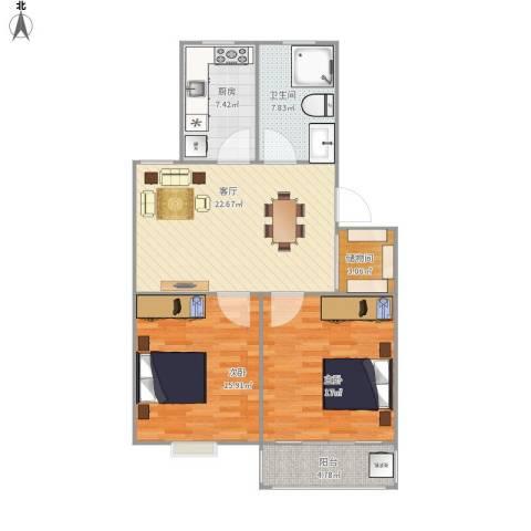 广益佳苑2室1厅1卫1厨104.00㎡户型图