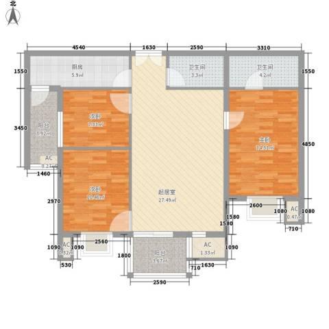 汇雅风尚3室0厅2卫1厨108.00㎡户型图