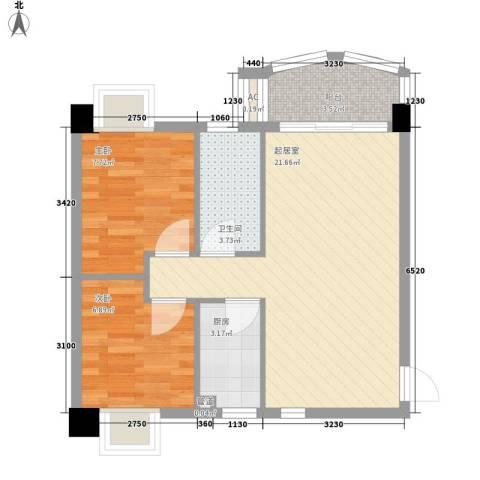 汇友苑2室0厅1卫1厨77.00㎡户型图