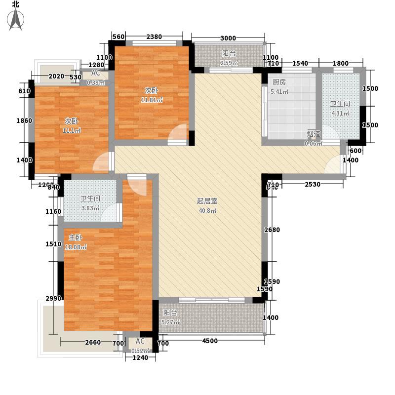 锦玉华庭13.58㎡7栋3号户型3室2厅2卫1厨