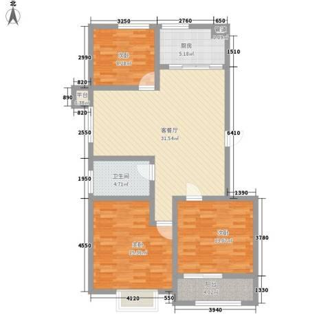 宝龙花园3室1厅1卫1厨118.00㎡户型图