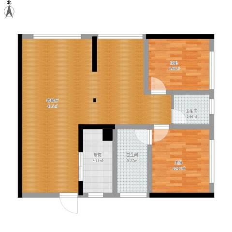 富临、桃花岛2室1厅2卫1厨105.00㎡户型图