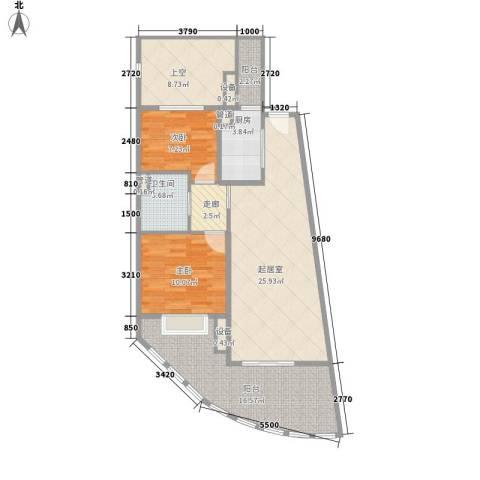 白金海岸2室0厅1卫1厨82.00㎡户型图