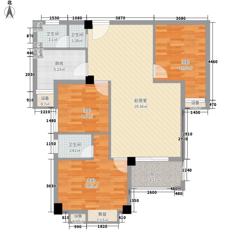 升辉现代花园户型图1#02单元 3室2厅1卫1厨
