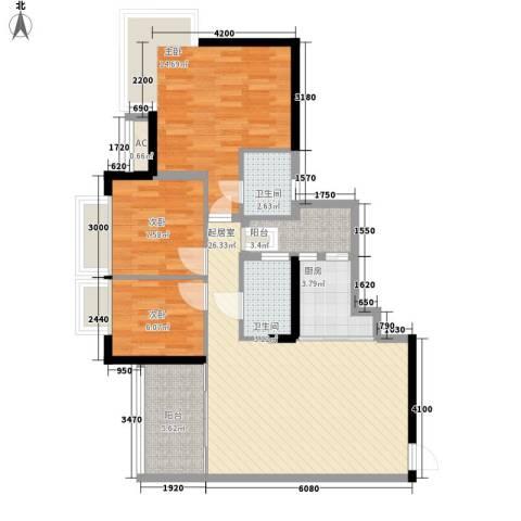 阳光城市家园3室0厅2卫1厨106.00㎡户型图