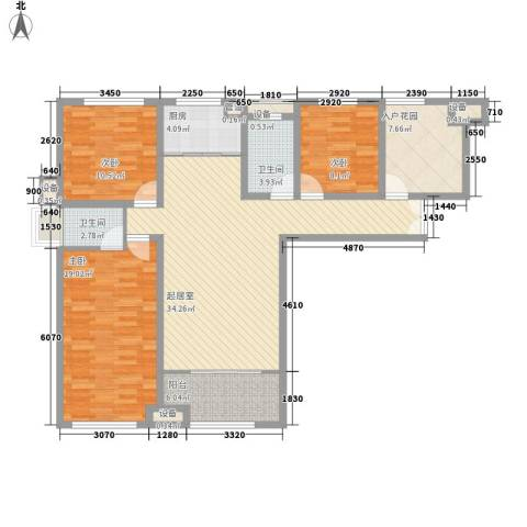 明发・淄博世贸中心3室0厅2卫1厨98.21㎡户型图