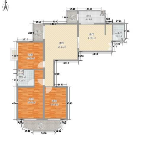 翌景嘉园3室2厅2卫1厨174.00㎡户型图